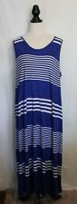 MAGGIE T ~ Cerulean Blue White Striped Sleeveless Linen Viscose Maxi Dress 3 20
