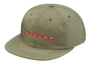 Supreme Chrome Stripe 6 Panel Hat Olive Strapback Cap SS17 Box Logo Camp New