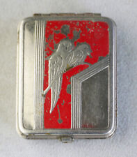 Vintage silver-plated metal art-deco rouge, powder compact, parrots