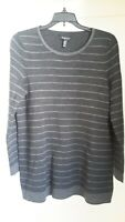 Eileen Fisher  Gray Striped Long Sleeved Pullover Merino Wool Sweater Size PM