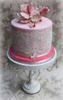 4 X EDIBLE  READY MADE sugar laces Anniversary cake BabyShower Birthday wedding