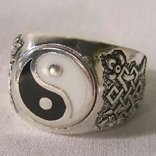 deluxe YIN YANG NEW SILVER BIKER RING BR114R mens fashion jewelry womens rings