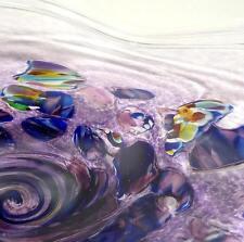 HAND BLOWN GLASS ART WALL BOWL/PLATTER, ITALIAN STYLE COMPLEX MURRINI PROCESS