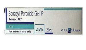 Benzoyl Peroxide Gel 2.5% for Acne Vulgaris Spots Blackhead Pimple 20g Long Date