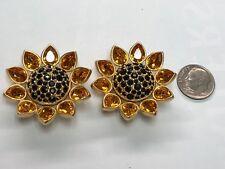 Signed Swarovski Rose Crystal Sunflower Clip Earrings Retired Rare New