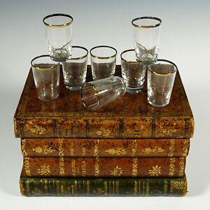 French Liquor Caddy Tantalus Box, Cordial Shot Glasses Set, Trompe l'Oeil Books