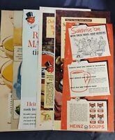 Lot Of 6 Vintage Magazine Ads for Heinz 57 Canned Soup Circa 1950s And 60s