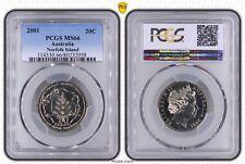 2001 Centenary Federation 20 Cent Norfolk Island PCGS Grade MS66 Uncirculated