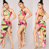 Women Feather Two Piece Set Dress Backless Bandage Halter Crop Top Long Skirt