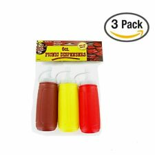 3pc Condiment Container Dispenser Picnic Set Ketchup Mustard BBQ Squeeze Bottles