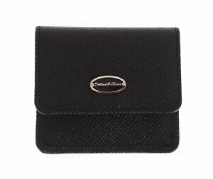 NEW DOLCE & GABBANA Condom Case Holder Pocket Wallet Black Dauphine Leather