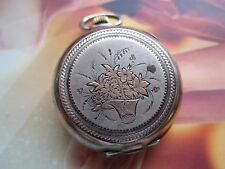 Antique Small Silver Pocket Watch Cylinder Fantastic Case
