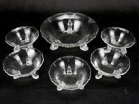 Heisey Crystal Nut/Almond Dish 6 Piece Set Glass Empress #1401