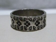 WOMENS STERLING SILVER ART NOUVEAU DECO WEDDING FLORAL FLOWER BAND RING SIGNED