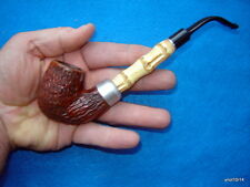 "Hand-Crafted 7.5"" Italian-Briar-Pipe-Bowl full-bent BAMBOO shank extention~Italy"