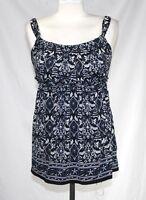 Max Edition - S - NWOT - Blue, B&W Regal Paisley Print Sleeveless Knit Top