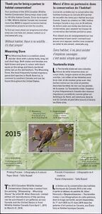 CANADA 2015 DUCK STAMP MINT IN FOLDER AS ISSUED MOURNING DOVES by Allan Hancock