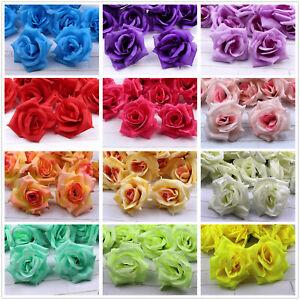"Lot 45/75P 3"" Artificial Silk Large Rose Fake Flower Heads Wedding Home Decor"