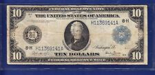 1914 $10 LARGE Federal Reserve Note (St. Louis) 8-H Blue Seal (Burke/Glass)