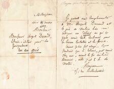 Louis Bernard Bonjean sénateur relieur reliure livre lettre autographe signée