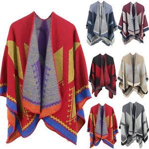 Women Winter  Warm Oversized Printing Blanket Cape Wraps Shawl Cardigans Coat OU