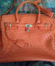 Orange, faux Ostrich print handbag