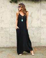 Lady Boho Sundress Oversized Strappy Long Maxi Casual Beach Summer Dress Plus