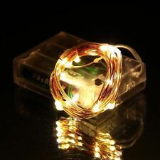 Warm White 6.5ft 2M Battery Operated 20LED string fairy light copper wire 600002