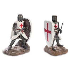 Buchstützen 2er Set zwei Kreuzritter mit Schild Templer