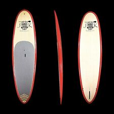"""9' x 33"""" x 4 1/2"""" Bamboo Epoxy Stand Up Paddle Boards PKG Red Rail by JK"""