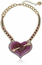 BETSEY JOHNSON GOLD CHAIN+BLACK CORD,HEART & ARROW PAVE CRYSTAL CHARM NECKLACE