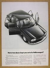 1971 Volkswagen VW 411 Sedan doors open car photo vintage print Ad