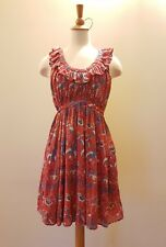FRENCH CONNECTION Red Floral Print Dress Summer Beach Day Dress Size 8 S GUC