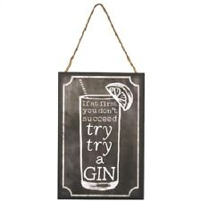 If At First You Don't Succeed Gin Wooden Hanging Plaque Sign
