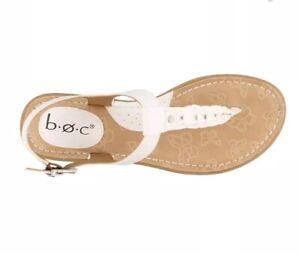 B.O.C White Leather Thong Sandal Cekis Low Heel Sandals Sz 10 Brand NEW!