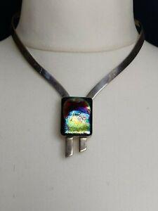 Vintage sterling silver Modernist collar necklace/ art glass enamel signed 1970s