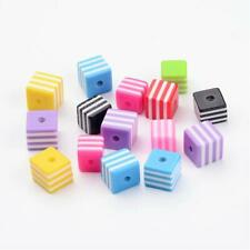 50 Striped Beads 10mm Acrylic Wholesale Bulk Rainbow Colors Assorted Lot Cube