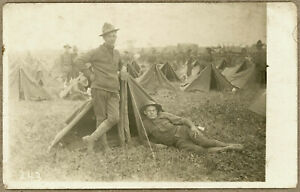 WW I era U.S. Army Soldiers Relaxing in Front of Shelter Tent RPPC, c. 1916-1918