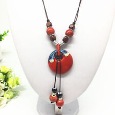 Fashion Ceramics Beads Pendant Ethnic Long Necklace Chain Jewelry Style  XL22