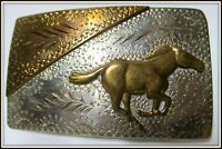 AWESOME Vintage Hand Made & Engraved RUNNING MUSTANG (Like FORD) Belt Buckle