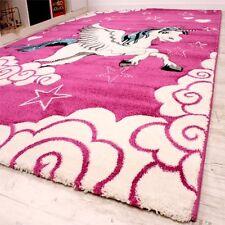 Girls Pink Bedroom Rug Children Play Room Carpet Kids Nursery Mat Small Large XL 160x230cm