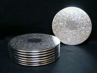 SUPERB SET OF 8 QUALITY SILVER PLATE STRACHAN PLACEMATS - CLASSIC VINTAGE DESIGN