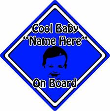 Personalised Cool Baby/Child On Board Car Sign ~ Baby Face Silhouette ~ D.Blue