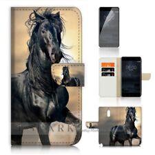 ( For Alcatel 3 2019 ) Wallet Flip Case Cover AJ31145 Black Horse