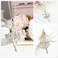 Light Pink Dancing Ballerina Ballet Dancer Pendant Necklace Charm Silver Tone q2