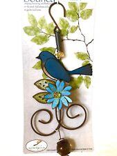 Bluebird Bird W/flower Bouncy Metal & Glass Garden Decor By Sunset Vista