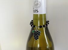 WINE BOTTLE NECK CHARM ENAMEL BUNCH GRAPES BLACK BICONE BEADS DAISY SPACERS x 1