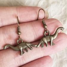 Dinosaur Charm Dangle Hook Earrings Cute Lovely Womens Junior Antique-Tone Metal