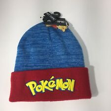 Pokemon Beanie Hat Red Blue Yellow Embroidery Spell Out Pokeball New