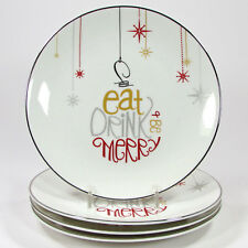 "Lenox EAT DRINK BE MERRY 8"" Dessert Plate Set 4Pc Ornament Red Silver Porcelain"